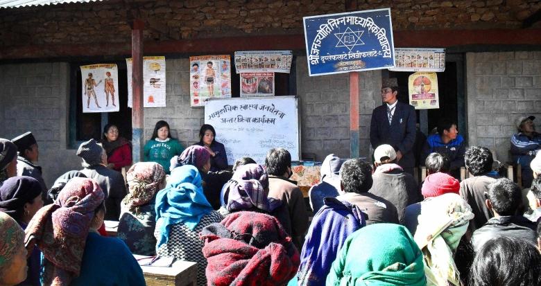 Deelnemers aan het voorlichtingsprogramma.